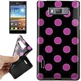 Rocina TPU Case Schutzhülle in schwarz mit lila Punkten für LG P705 Optimus L7