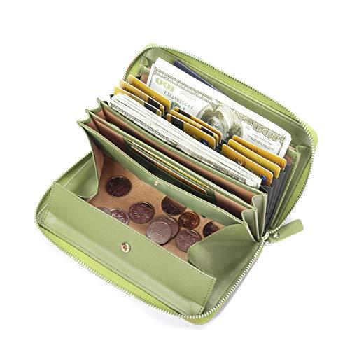 se, Brenice RFID Rindleder Reißverschluss Lange Brieftaschen Große Kapazität 11 Kartenhalter Geldbörse für Frauen Grün ()