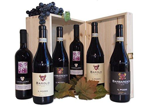 Cassetta Regalo Gran Piemonte Barolo Barbaresco Barbera 6 Bottiglie - Cod. a178