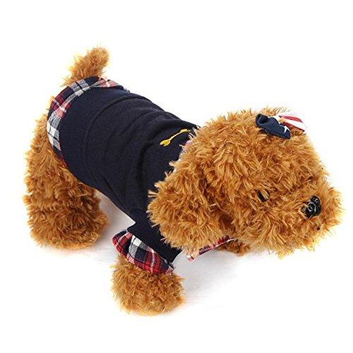 dung POLO Shirt Hund Mantel Kostüm 1PC Hund Katze Gitter Welpen Warme T-Shirt (L, Schwarz) ()