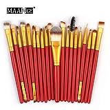 Pinceaux Maquillage,20Pcs / Set Ensemble De Pinceaux De Maquillage Outils De Maquillage Trousse De Toilette en Laine Poils Synthetiques Doux Et sans Cruauté