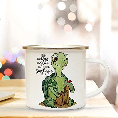 Emaille Becher Camping Tasse mit Schildkröte & Spruch viele Wege zum Glück... Kaffeetasse Geschenk...