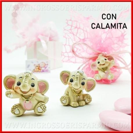 Ingrosso e risparmio bomboniere battesimo magnete in resina colorata a forma di elefantino dumbo in 3 varianti con dettagli rosa da femminuccia(kit 48 pz)