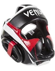 Venum Elite - Casco de boxeo MMA, color negro / rojo / gris, talla única