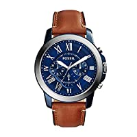 Fossil Grant Blue Dial Chronograph Leather Band Men's Watch FS5151