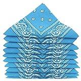 KARL LOVEN Lotto di 20 bandane 100% Cotone Paisley Sciarpa Testa Collo Fazzoletti (Lotto di 20, Blu azzurro)