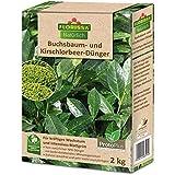 Florissa Natürlich 58595 Buchsbaum, Kirschlorbeer und immergrüne Pflanzen intensives Grün | schnellser Bio-Dünger durch Proto