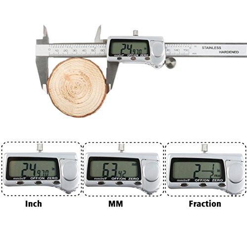 Digitale Messschieber OKPOW Zoll metrische Brüche Konvertierung Edelstahl Nonius-Anzeige 0-6 Zoll / 150mm mit LCD Display Messwerkzeuge