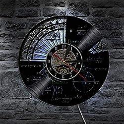 LTOOD Matemáticas Fórmula Ciencia Aula Arte de Pared Reloj de Pared Friki Gráfica Ecuación matemática Disco de Vinilo Reloj de Pared Idea de Regalo para Profesores de matemáticas