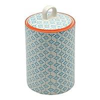 Boîte à thé/café/sucre en porcelaine ornée de motifs - imprimé bleu/orange