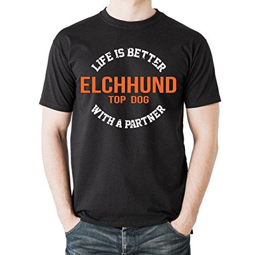 Siviwonder Unisex T-Shirt ELCHHUND ELCH - LIFE IS BETTER PARTNER Hunde Schwarz