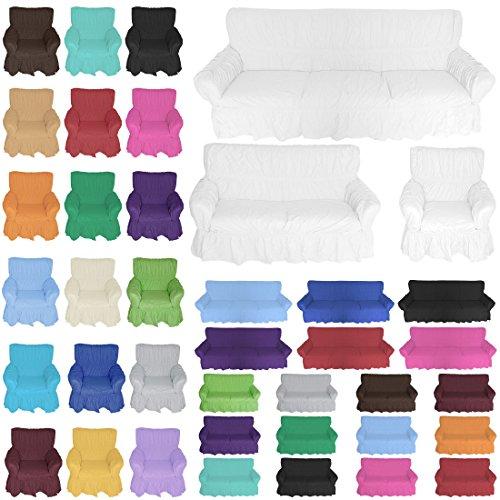 Nurtextil24 Sofahussen 100% Baumwolle in 20 Farben und 3 Größen Sofabezug 3er Weiß