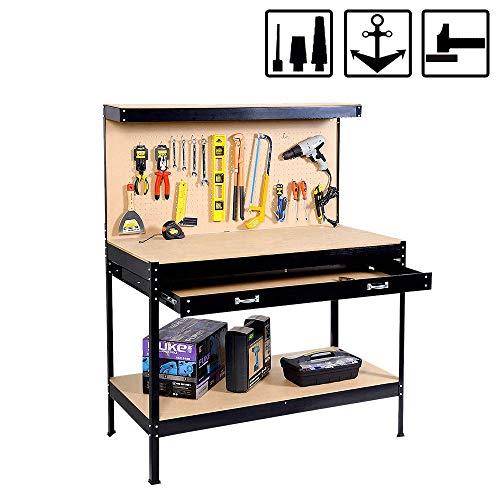 FROADP 115x60x155cm Werkbank mit Schublade und Werkzeugwand - Werkzeugbank Arbeitstisch bis 100kg belastbar für Haushalt und Werkstatt