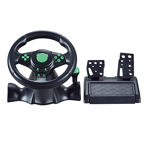 Layopo Gaming Steering Wheel, 180 Grados de Rotación ABS Gaming Volante Vibración Racing con Pedales para Xbox 360 PS2 PS3 PC