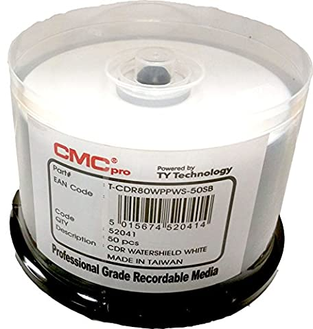 CMC Pro / Taiyo Yuden Water Shield White Inkjet Hub Printable 52X CD-R Media 50 Pack in Cake Box