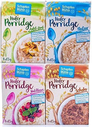 Schapfen Mühle Porridge Mahlzeit Testpaket mit den Sorten Waldbeere, Schoko, Apfel Zimt und Natur (4x260g Packung)