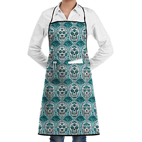 SDGSS with Pocket Apron,Turquoise Sugar Skulls Adjustable Bib Apron Pockets Home Kitchen Garden Restaurant Cafe Bar Pub Bakery for Cooking Chef Baker Servers Craft ()