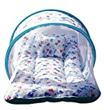 Nagar International Baby's Cotton Bed Mattress with Mosquito Net Multi Color for New Born to 4 Months Baby (Blue)