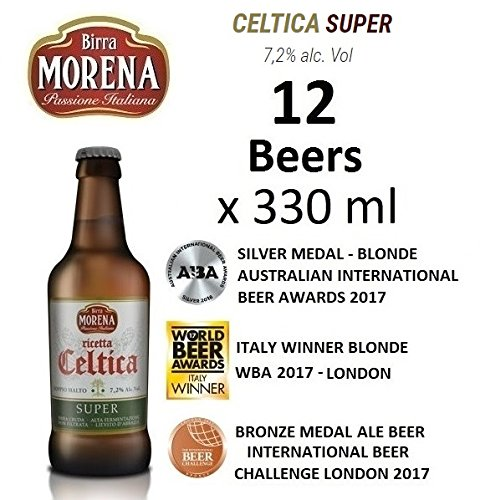 12 X Birra Morena Super 7,2 % alc vol - ml 330 - Double Malt -Blonde Ale - Yeast abbey -Artigianale - Craft Beer - Italian Beer - Award - Best Gift Events Christmas Easter