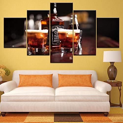 WLHWLH Modular Pictures 5 Panel Sekt Champagner Whisky Bier Bar Likör Poster Wandkunst Leinwand Gemälde Bar Restaurant Dekor