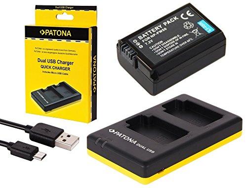 2in1-SET für die Sony Alpha 6000 --- Akku (950mAh) + Dual Ladegerät (laden Sie 2 Akkus via USB-Anschluss auf einmal)