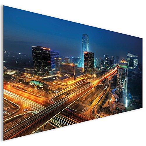 Orange asiatischen Wolkenkratzern Stadt Acrylglas Wand Kunst - XL 140cm x 70cm