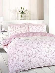 Mollie oiseaux Rose sombre de lit simple Motif fleurs et feuilles Parure de lit avec housse de couette
