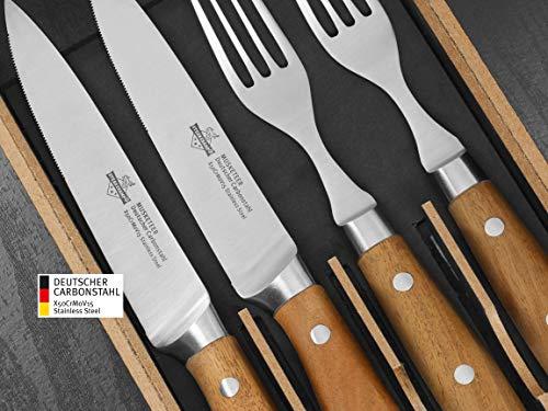 """SteakChamp Premium Steakbesteck """"4 Musketeer"""", Deutscher Carbonstahl (rostfrei), 2 Steakmesser und 2 Steakgabeln in schöner Geschenkbox"""