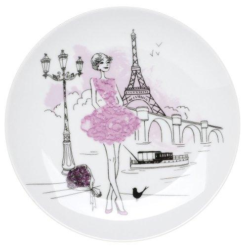 Amatable 32-K2-101 Assiettes à dessert Les parisiennes Coffret de 6 assorties Blanc et motifs Porcelaine D21cm