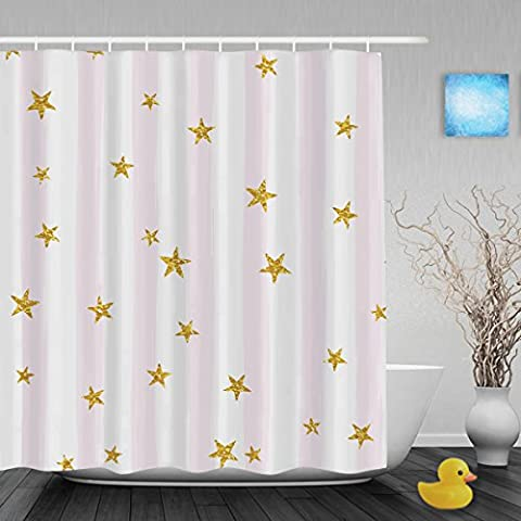 Gold Glittering Stars On Stripe Background Bathroom Shower Curtains Waterproof Mildewproof Fade Resistant Polyester Fabric Shower Curtain 66