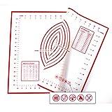 Xixihaha da forno in silicone Rolling pasticceria tappetino antiscivolo con misure & antiaderente professionale Dimensioni 60x 40cm. Approvato dalla FDA per cucinare ricette e dessert (rosso)