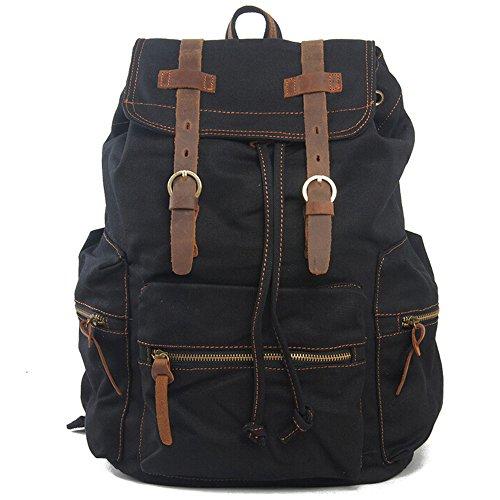 Boshiho appositamente unisex ad alta densità spessa tela zaino in tela vintage cartella borsa a tracolla, vera pelle decorazione zaino, Black Black