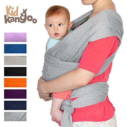 Elastisches Babytragetuch für das Tragen Ihres Babys, aus Baumwolle und Lycra, Tragetuch für Männer und Frauen in acht Farben Perlgrau
