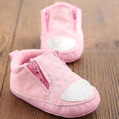 Babyschuhe Longra Baby-Krippe Schuhe Kleinkind weiche Sohle Reißverschluss Sneakers Freizeitschuhe Lauflernschuhe Krippeschuhe (0 ~ 18 Monate) Pink