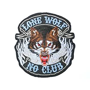 Ecusson brode LONE WOLF NO CLUB Hog Rockers Racer Chopper Outlaw Biker patch Iron on Sew Applique Embroidered patchesVendu de R.M.A.
