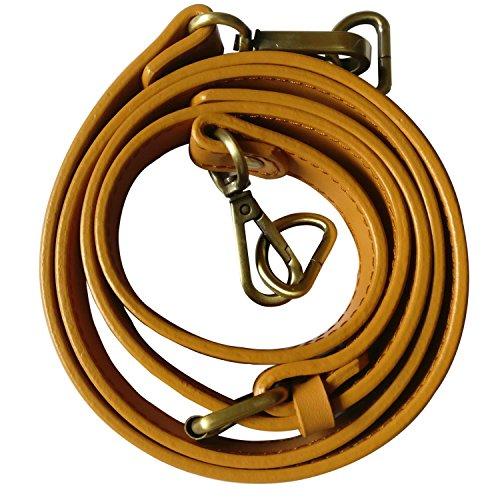 Neuleben Schulterriemen echtes Leder 120cm Schultergurt Riemen Gurt Lederriemen für Taschen Handtasche Umhängetasche (Schwefelgelb-messing Haken)