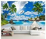 Malediven-Meerblick Landschaftsmalerei Kokosnussbaum 3D Moderne Hd-Fototapeten-Tapete Schlafzimmer Büro Wohnzimmer Tv Sofa Wanddekoration (L)200x(W)140cm