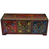 UMHISHOP Bed Side Solid Wood Diamond Drawer Theme Wooden (with 3 Horizontal Drawers)