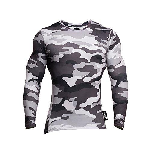 Fringoo Langärmeliges Kompressions-Shirt für Herren, zum Trainieren, Thermo-T-Shirt, enganliegend, Rundhals-Ausschnitt, Unterhemd Gr. M, Camo Grey - Top -