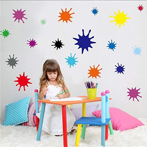 Koyiyo 38 Stücke Multi-Size Farbe Splats Farben Diy Wandaufkleber Für Kinder Schlafzimmer Kindergarten Entfernbare Wandkunst Aufkleber Tapete Wohnkultur