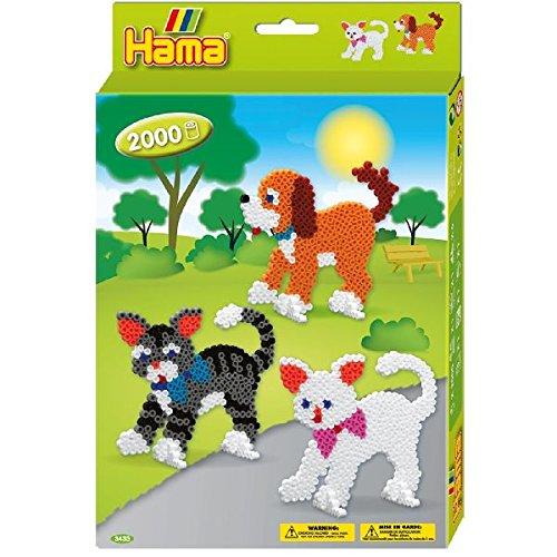 Hama 3433 - Perlenset Hund und Katze, ca. 2000 Bügelperlen, 2 Stiftplatten und Zubehör