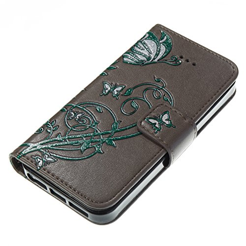 Custodia iPhone 5S, iPhone SE Flip Case Leather, SainCat Custodia in Pelle Cover per iPhone 5/5S/SE, Bling Glitter Anti-Scratch Book Style Protettiva Caso PU Leather Flip Portafoglio Custodia Libro Pr Grigio