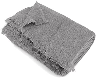 Manta 220x 240cm lana mohair 320G/m² Thesee gris acero