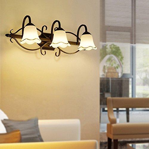 OYI Traditionell Wandleuchte Badlampe Wandlampe Landhaus Stil Glas Glocke Lampenschirm 3 Flammig für Badezimmer Wohnzimmer Hotel