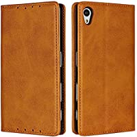 DENDICO Case for SONY Xperia Z5, Classic Leather Wallet Case Flip Notebook Style Cover with Magnetic Closure, Card Holders, Stand Feature - Light Brown