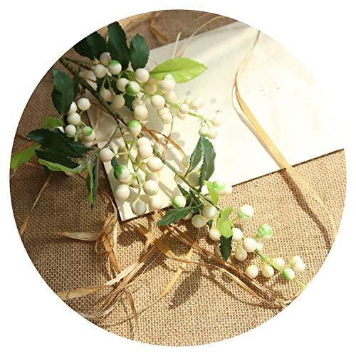 Small-shop Artificial flowers Künstliche Blumen für Lange künstliche Beeren Zweige Blumen Hochzeit Dekoration Fake Foam Blumen Home Dekoration Herbst Garten Pflanze Dekor White Berry