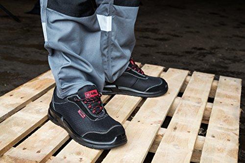 Scarpe antinfortunistiche con puntale in acciaio e plantare modello 4482 S1P Unisex - Adulto Nero