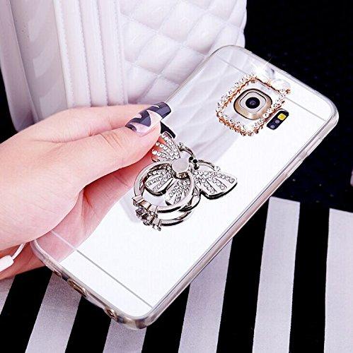 Galaxy S7 Hülle,Galaxy S7 Silikon Hülle Glitzer,Galaxy S7 Schutzhülle,JAWSEU Kristall Diamant Spiegel Handy Silikon Hülle TPU Back Case Schutzhülle für Samsung Galaxy S7 Silikon Hülle mit Glitzer Stra Schmetterling Silber