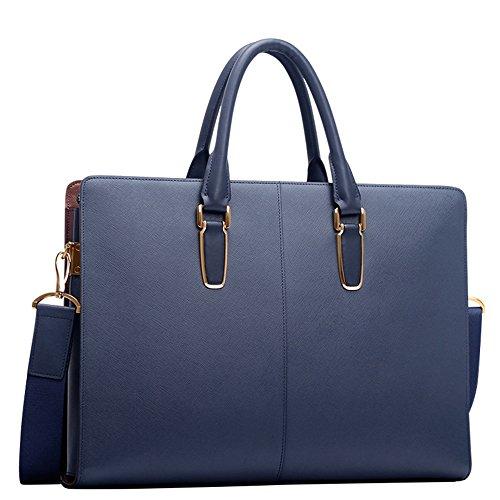Padieoe Herren Ledertasche Umhängetasche Handtasche Schultertasche Aktentasche Laptoptasche Schultasche Dokumententasche Businesstasche Messenger Bag Business Laptop-Taschen Aktentaschen Blau