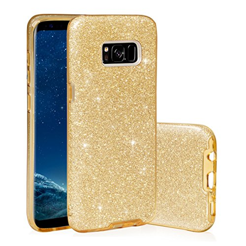 EGO® Étui de protection en TPU avec strass Case Diamant pour Samsung de strass bord transparent Back Cover étui de protection ultra fin en silicone souple pierres cristal brillant Bling für Samsung A3 or